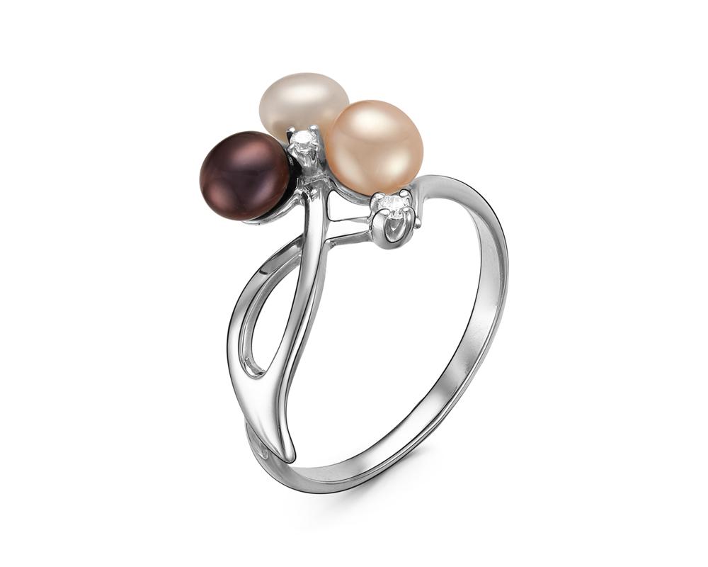 Кольцо из серебра с черной, розовой и белой жемчужинами