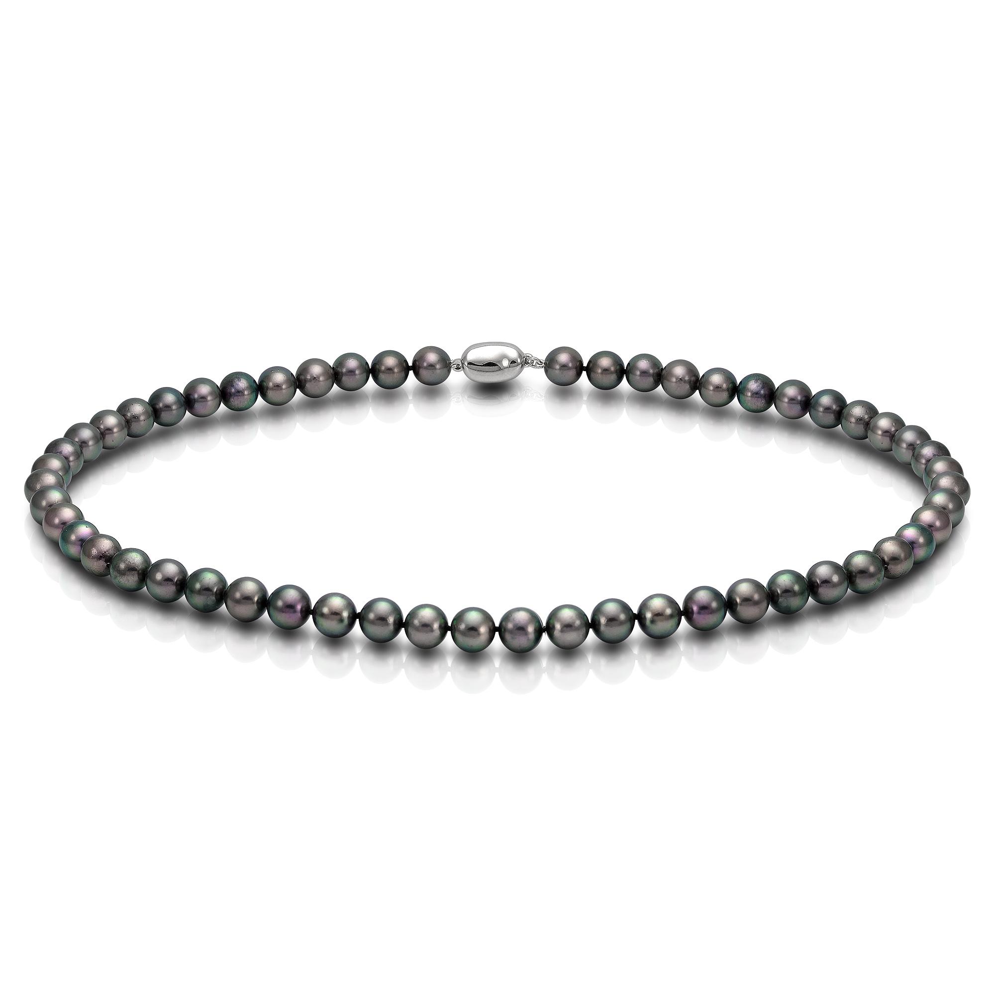 Ожерелье из черного круглого морского жемчуга Акойя (Япония). Жемчужины 8-8,5