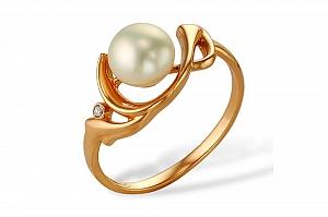 Кольцо из красного золота 585 пробы с белой жемчужиной 8-8,5 мм