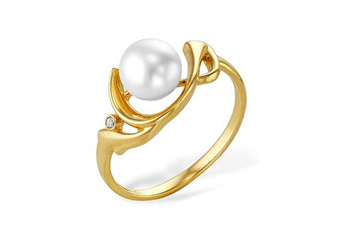 Кольцо из желтого золота 585 пробы с белой жемчужиной 8-8,5 мм