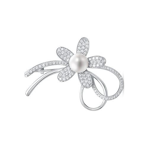"""Брошь """"Цветок"""" из серебра с белой жемчужиной. Жемчужина 8,5-9 мм"""