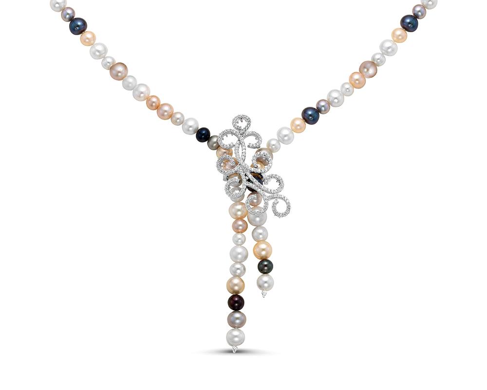 "Ожерелье ""галстук"" из круглого речного жемчуга ""микс"""