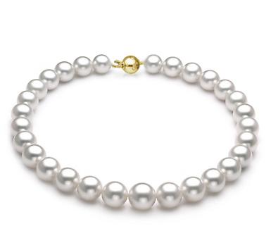 Ожерелье из белого круглого морского Австралийского жемчуга 12-14,6 мм