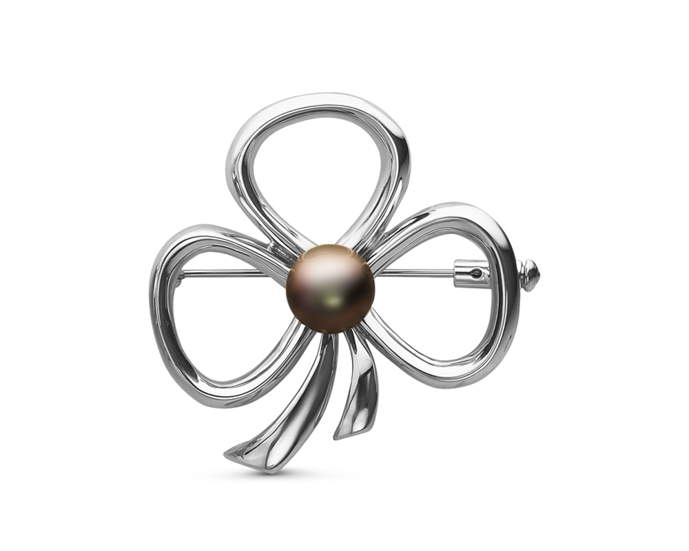 Брошь из серебра с черной Таитянской жемчужиной 8-8,5 мм