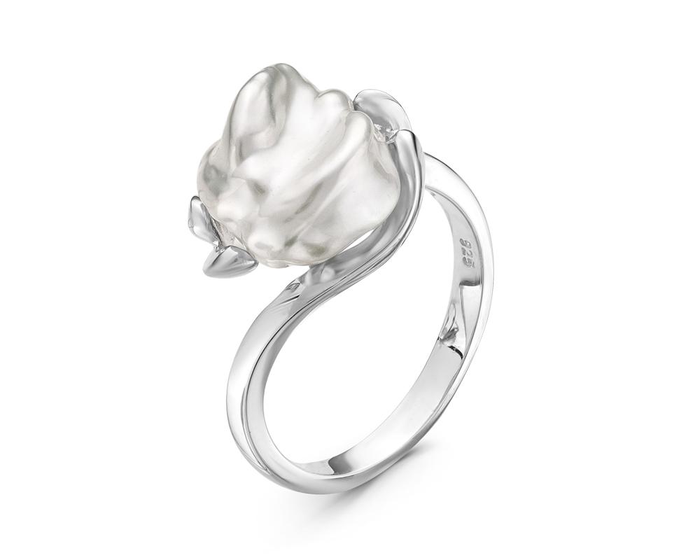 Кольцо из серебра с белой барочной жемчужиной 10,5-11 мм