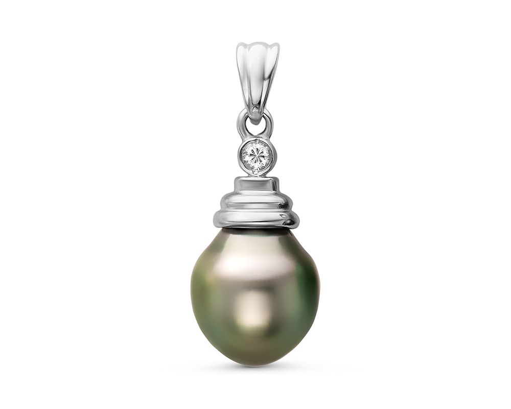 Кулон из серебра с черной морской Таитянской жемчужиной 10-10,5 мм