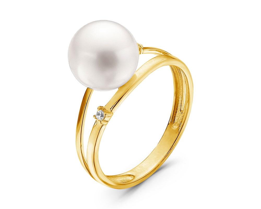 Кольцо из желтого золота с морской жемчужиной Акойя 9-9,5 мм