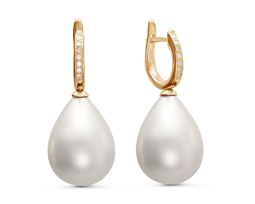 """Серьги из серебра с белой жемчужиной """"Майорика"""" 12,5-15,5 мм"""