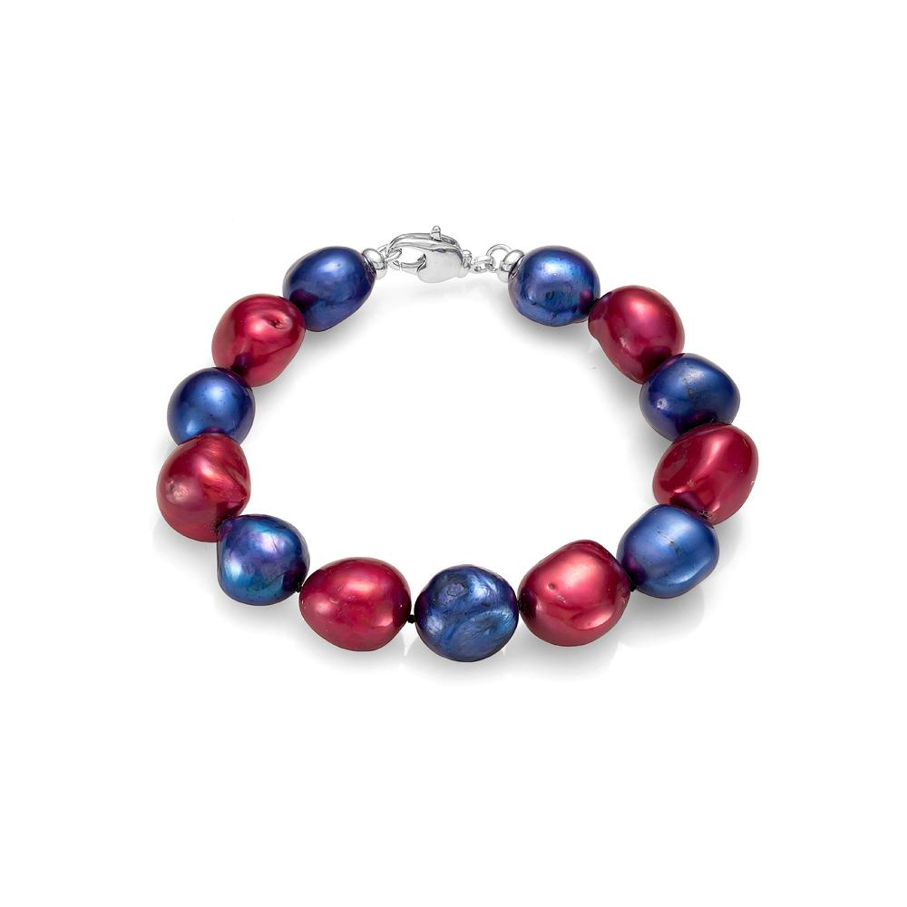 """Браслет """"микс"""" из красного и синего жемчуга барокко. Жемчужины 11-12 мм"""