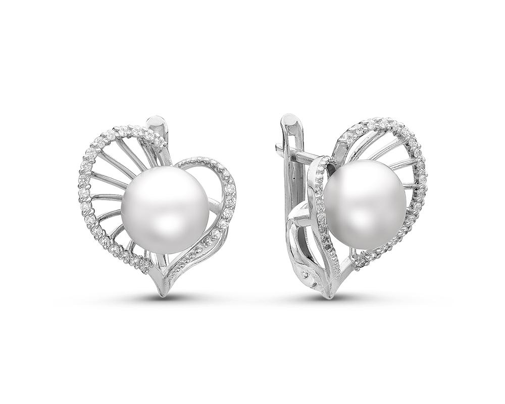 Серьги из серебра c белыми речными жемчужинами 8,5-9 мм