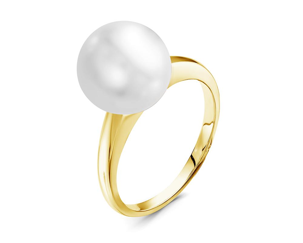 Кольцо из желтого золота с белой морской Австралийской жемчужиной 11-11,5 мм