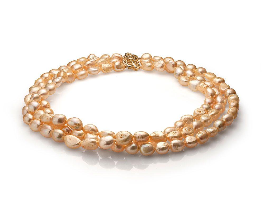 Ожерелье в 3 ряда из золотого барочного жемчуга. Жемчужины 10-11 мм