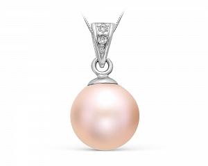 Кулон из серебра с розовой речной жемчужиной 10,5-11 мм