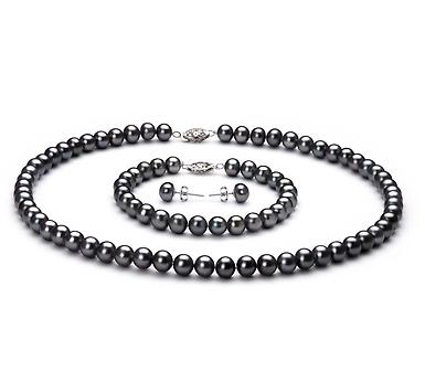 Комплект из черного круглого речного жемчуга. Жемчужины 7,5-8 мм