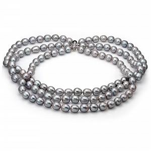 Ожерелье 3-рядное из серебристого рисообразного жемчуга