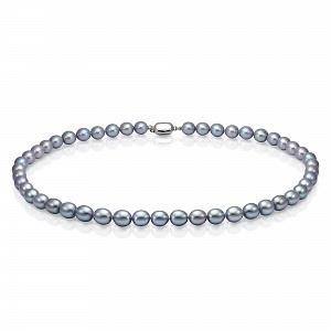 Ожерелье из серого рисообразного речного жемчуга 9-10 мм