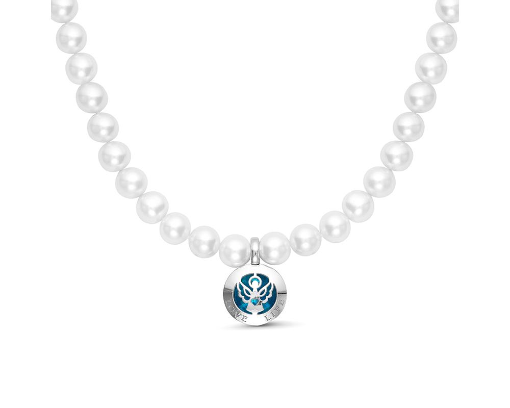 Колье из белого жемчуга с кулоном из серебра, покрытого эмалью. Жемчужины 7,5-8 мм