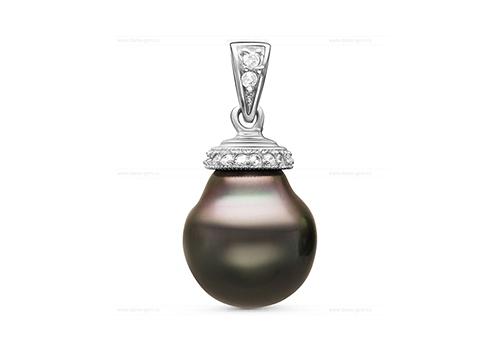 Кулон из серебра с черной морской Таитянской жемчужиной 11,6-11,9 мм