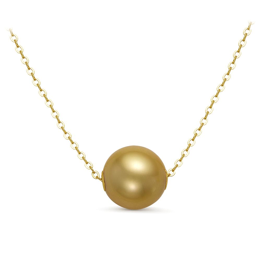 Цепочка из желтого золота с золотистой морской жемчужиной 11-11,5 мм. Длина 45 см