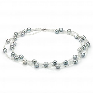 Ожерелье трехрядное из серого рисообразного жемчуга и бисера