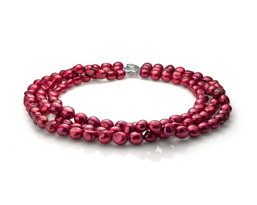 Ожерелье в 3 ряда из красного речного жемчуга барокко. Жемчужины 11-12 мм