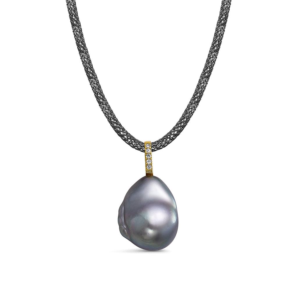 Колье из черненого серебра с серебристой барочной жемчужиной 13-16 мм