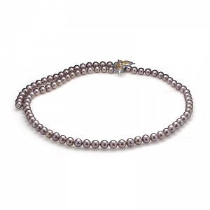 """Ожерелье """"галстук"""" из серого круглого пресноводного жемчуга"""
