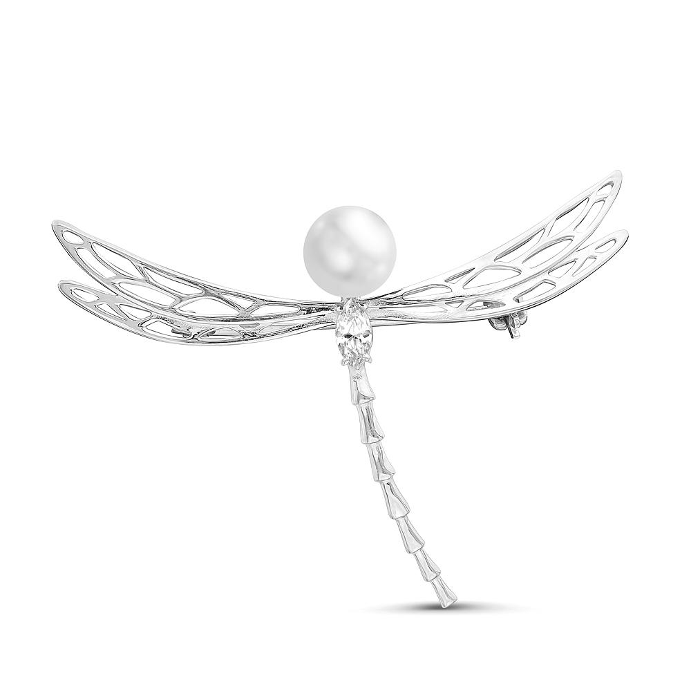 """Брошь """"Стрекоза"""" из серебра с белой жемчужиной 7-7,5 мм"""