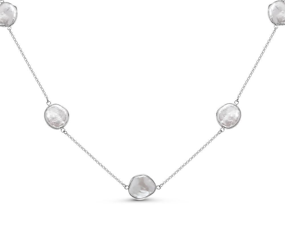 Колье из серебра 925 пробы с белыми барочными речными жемчужинами 14 мм