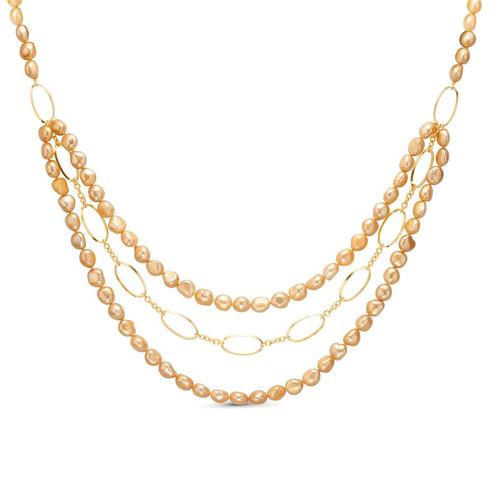 Ожерелье в 3 ряда из золотистого барочного речного жемчуга. Жемчужины 10-11 мм