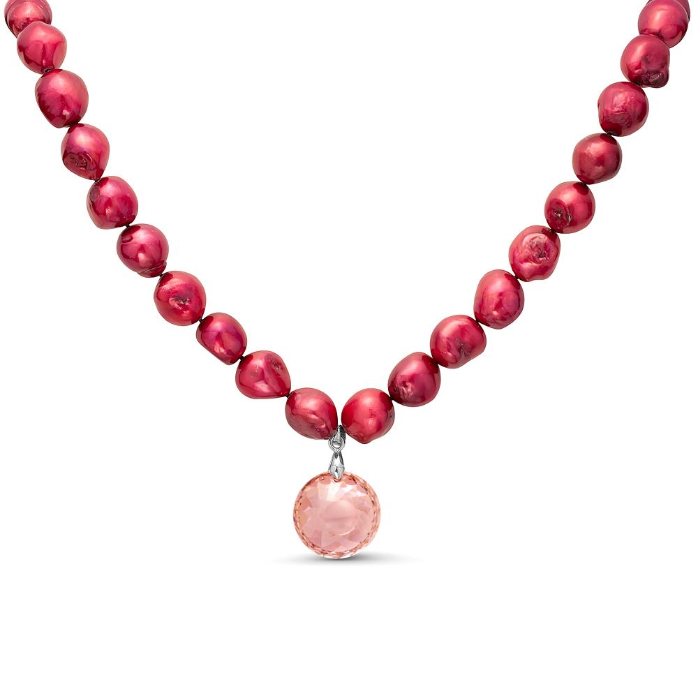 Ожерелье из красного барочного жемчуга с кулоном Сваровски. Жемчуг 11-12 мм