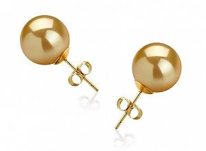 Пусеты на золоте с золотистой жемчужиной Акойя (Япония) 8-8,5 мм