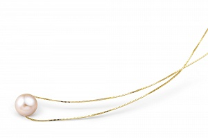 Цепочка из серебра 925 пробы с розовой речной жемчужиной 8,5-9,5 мм. Длина от 40 до 45 см