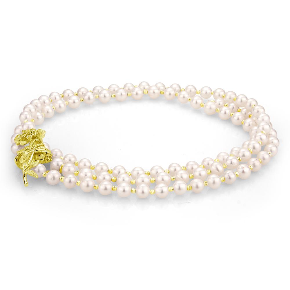 """Ожерелье """"галстук"""" из белого круглого речного жемчуга 7-7,5 мм"""