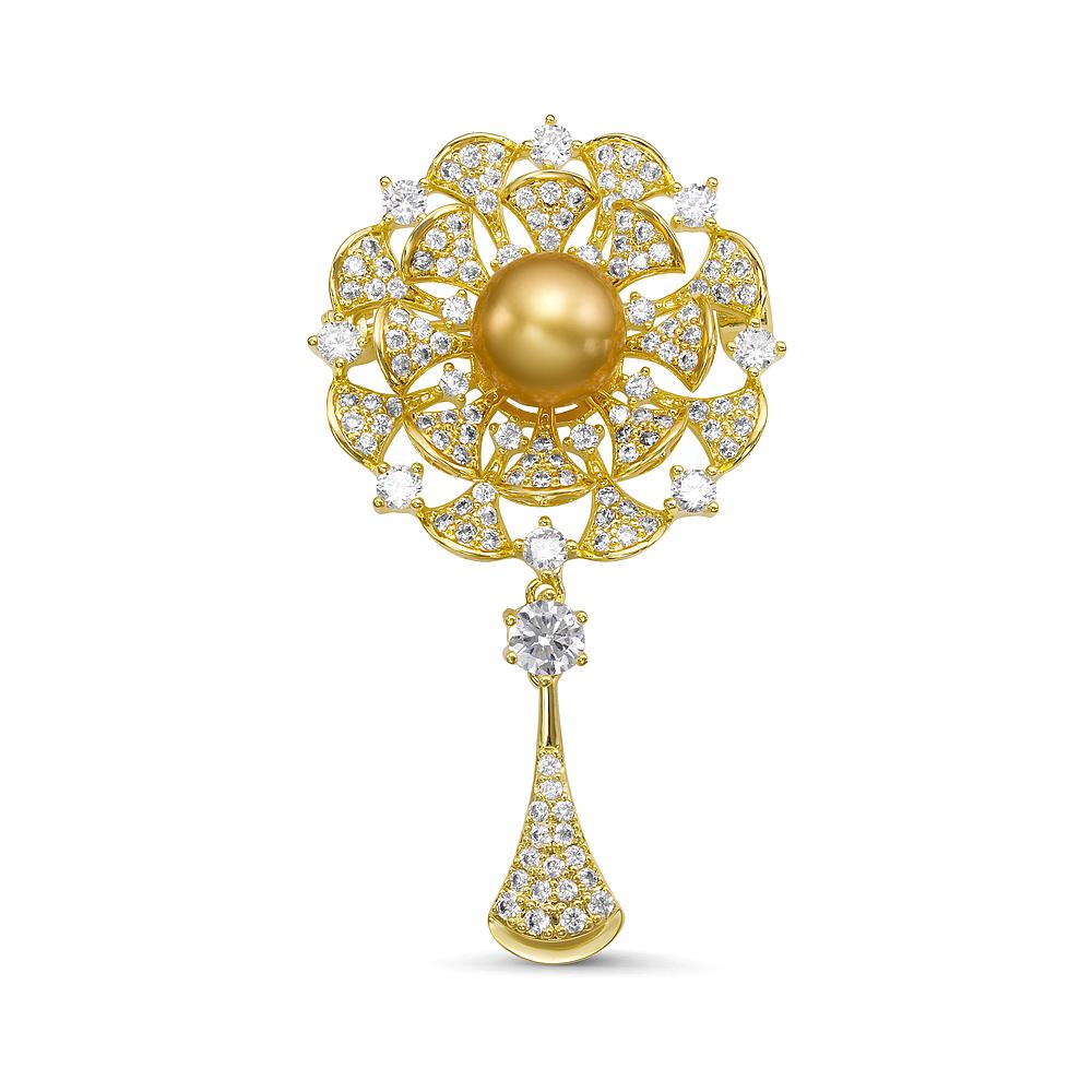 """Брошь """"Цветок"""" с Австралийской золотой жемчужиной 10-10,5 мм"""