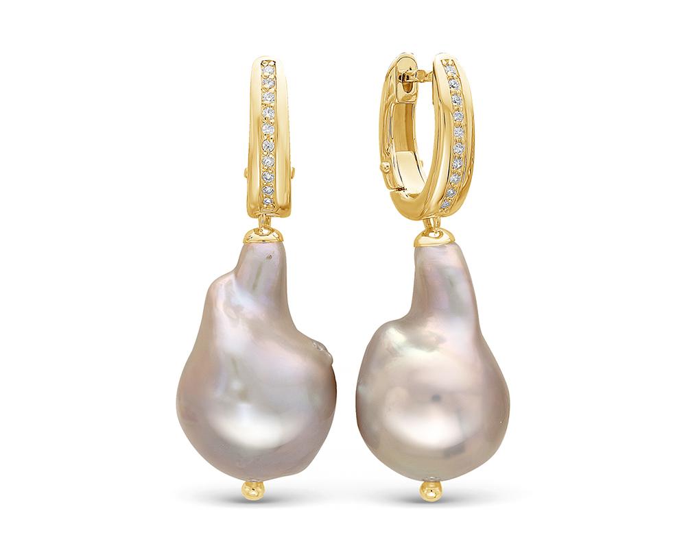 """Серьги из серебра с серебристыми жемчужинами """"Барокко"""" 13-16 мм"""