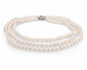 Ожерелье 3-рядное из белого рисообразного речного жемчуга
