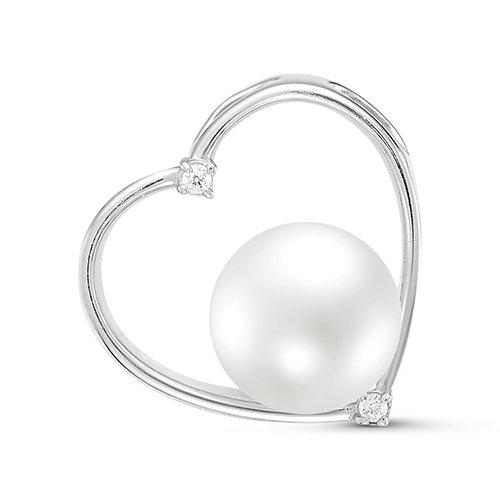 Кулон из серебра с белой речной жемчужиной 8,5-9 мм