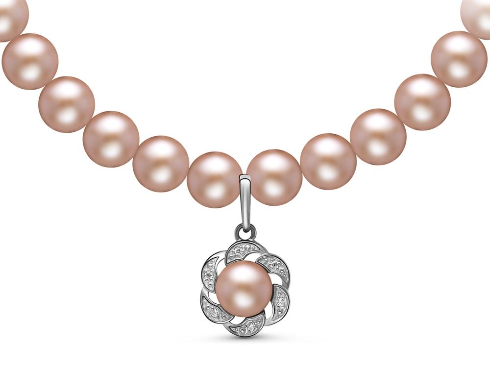 Ожерелье из розового круглого жемчуга с подвеской из серебра. Жемчужины 6-6,5 мм