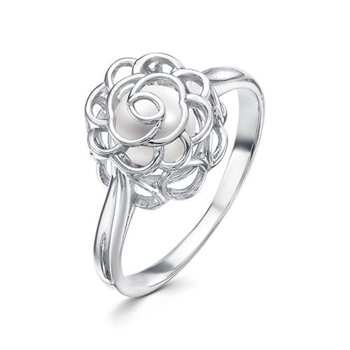 """Кольцо """"Роза"""" из серебра с белой речной жемчужиной 6,5-7 мм"""