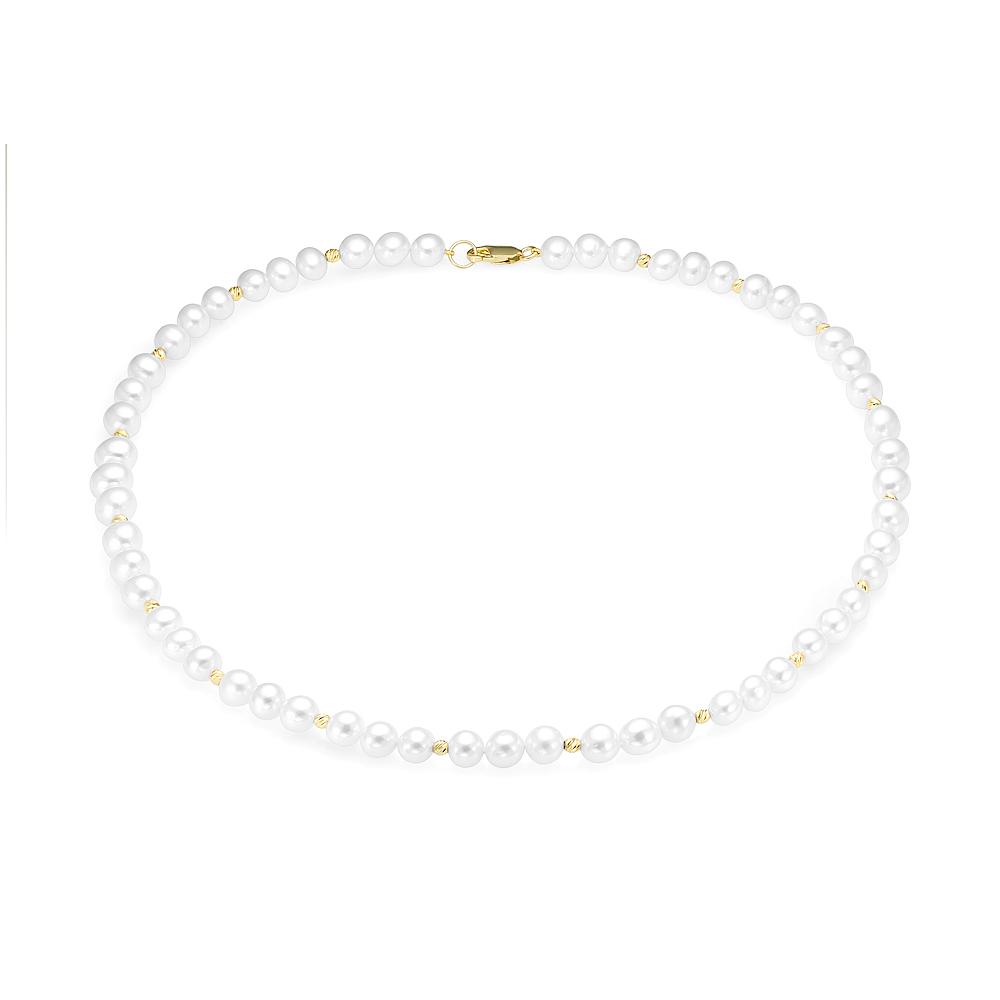 Ожерелье из белого круглого жемчуга со вставками из серебра
