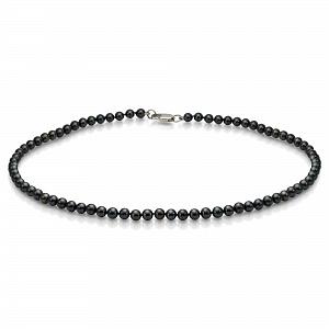 Ожерелье из черного круглого речного жемчуга. Жемчужины 5-5,5 мм