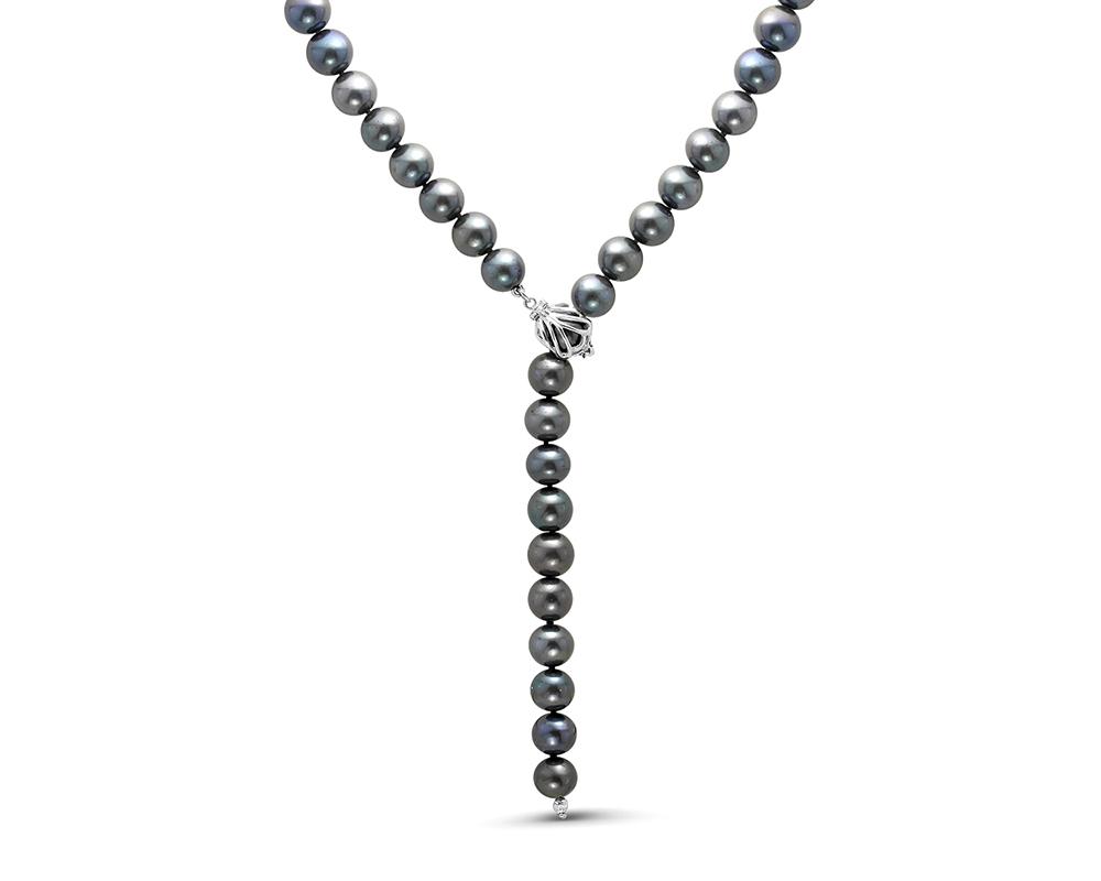 "Ожерелье ""галстук"" из черного круглого жемчуга. Жемчужины 9-10 мм"