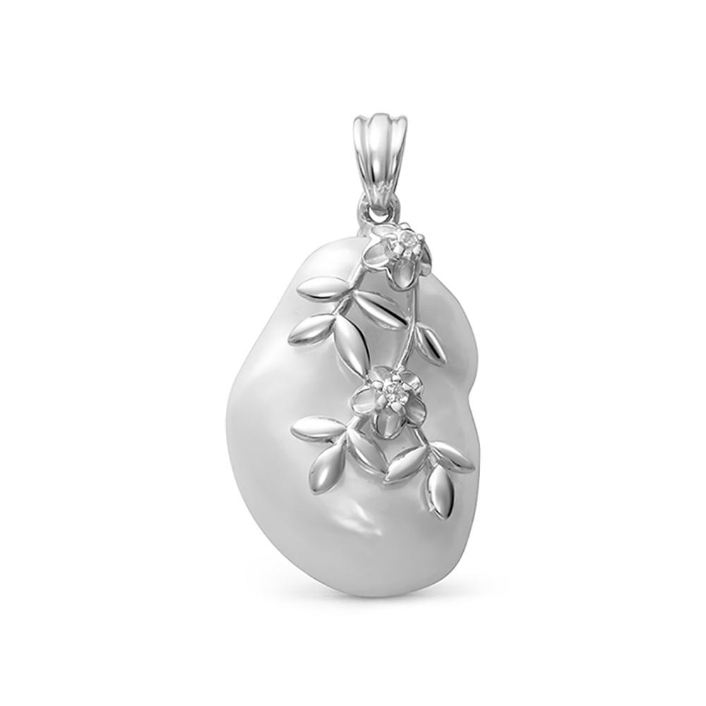 Кулон из серебра с белой барочной жемчужиной 16-23мм