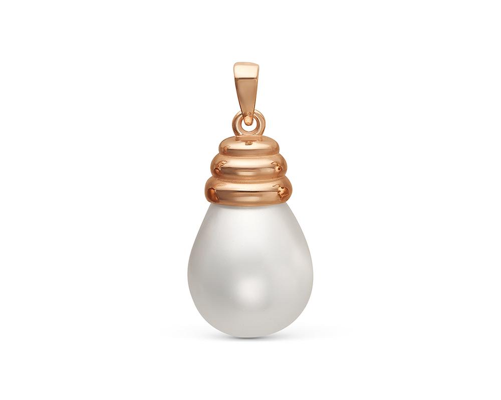 """Кулон с каплевидной белой жемчужиной """"Майорика"""" 12,5-15,5 мм"""