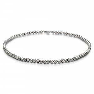 Ожерелье из серого круглого речного жемчуга. Жемчужины 5-5,5 мм