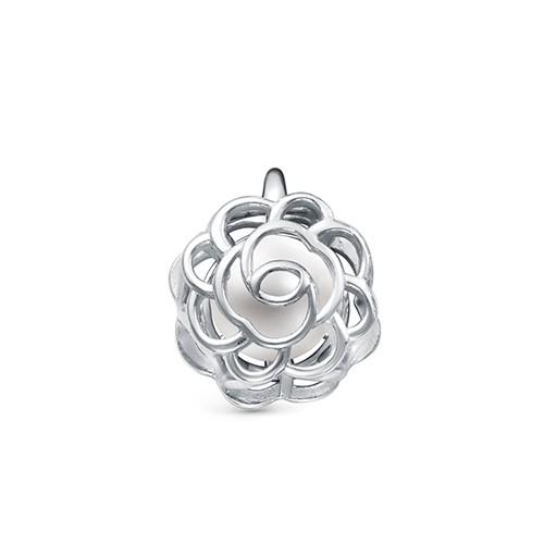 """Кулон """"Роза"""" из серебра с белой речной жемчужиной. Жемчужина 6,5-7 мм"""