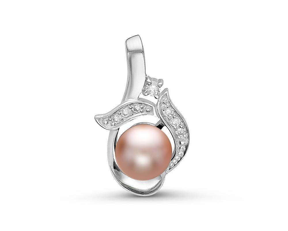Кулон из серебра с розовой речной жемчужиной 7-7,5 мм