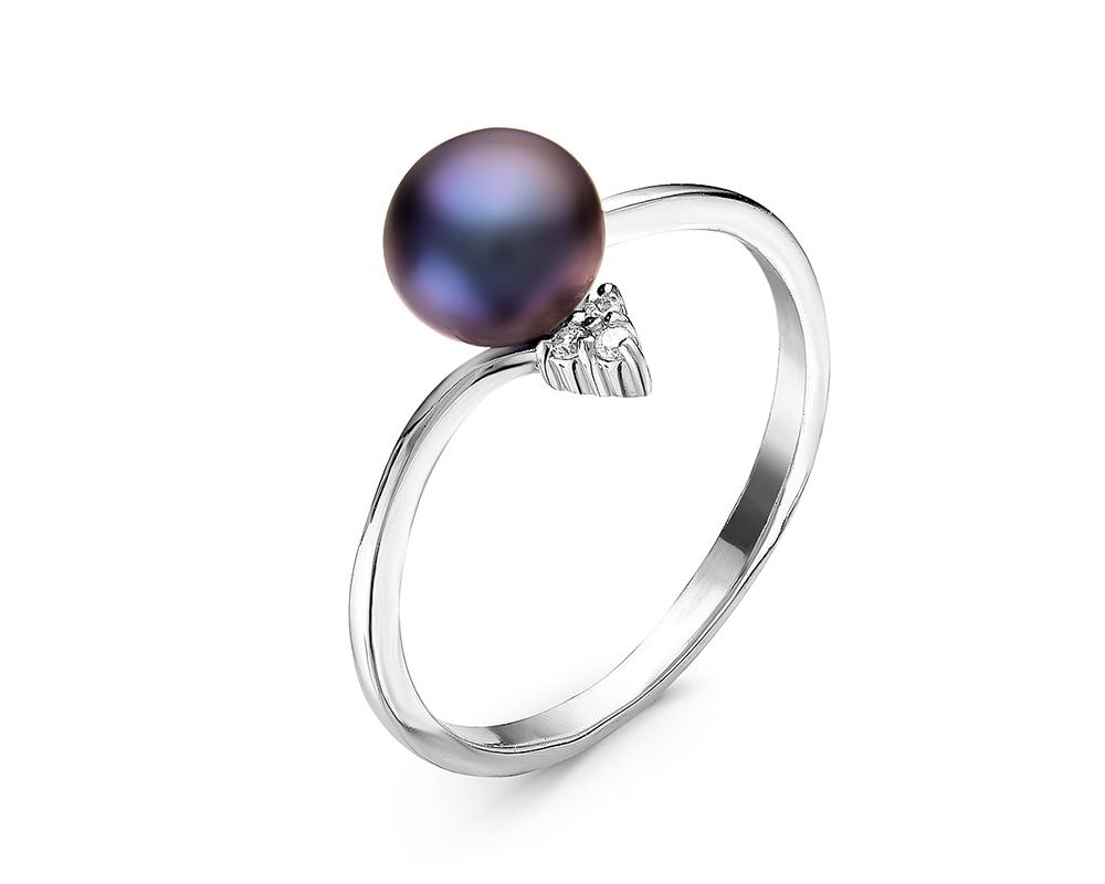 Кольцо из серебра с черной речной жемчужиной 6,5-7 мм
