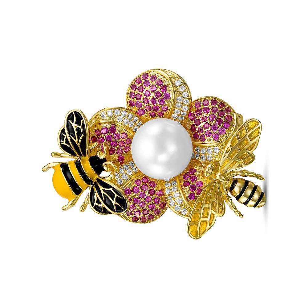 """Брошь-кулон """"Пчелки"""" с белой пресноводной жемчужиной 11-11,5 мм"""